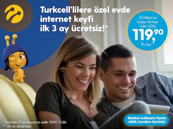 Turkcell'lilere Özel 3 Ay Ücretsiz Yalın VDSL Kampanyası