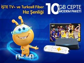 İşte TV+ Ve Turkcell Fiber Hız Şenliği 10GB Cepte Modem Paketi Kampanyası